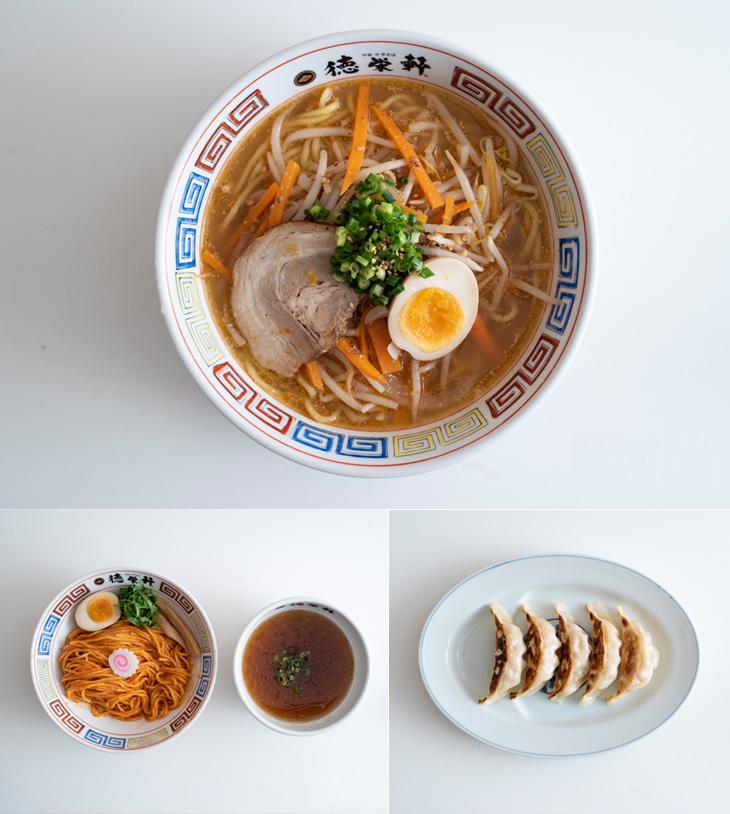 上:味噌ラーメン(和風だし)、左:旨辛和風だしつけ麺、右:小籠包風餃子